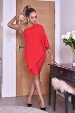 Red One Shoulder Overlay Dress