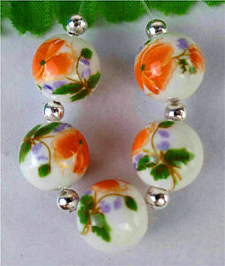 5Pcs 12mm White&Orange Ceramic Applique Height Holes Ball Bead AP13109