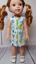 Foxy Summer Dress with Buttons Fits AG Wellie Wisher & Glitter Girl Dolls