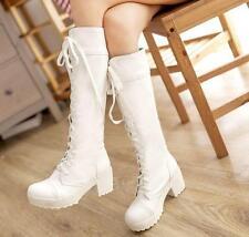 Stylish Hot Punk Lace-Up Gothic Women's Chunky Heels Platform Knee-High Boots