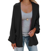 Women's Open Front Sweater Long Sleeve Cardigan Loose Jacket Coat Tops Black