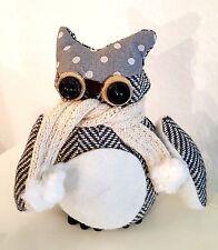 Eule mit Schal aus Stoff Winter Schnee - Eule Türstopper / Uhu / Deko Tier Figur