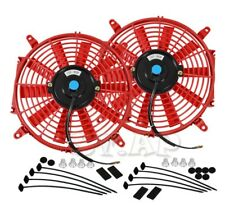"2X 9"" Slim/Thin 12V Push/Pull Electric Radiator/Cooling Fan Red+Mounting Kit"