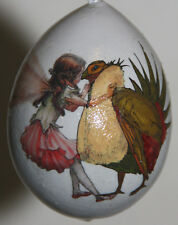 gourd Easter egg, garden or Christmas ornament with fairy dressing grouse