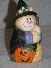 "Midwest Eddie Walker Orange Cat Witch w Broom Jack 'O Lantern Halloween 5"" Tall"