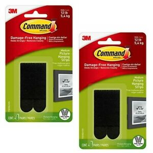 2 Packs 3M Command Medium Picture Hanging Strips Black Max 12 lb (Total 8 Pairs)