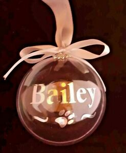 Personalised Pet Bauble Christmas Decoration - Open to Fill with Treats!