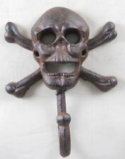 Cast Iron Skull & Cross Bone Single Wall Hook Coat Hanger Hat Robe Hook Skulls