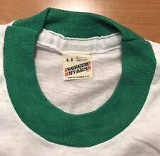 Vintage Screen Stars Blank Kids T-Shirt Youth Small 6-8 Green White Ringer 80s