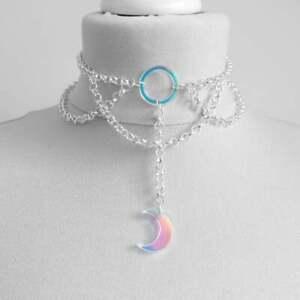 Iridescent Moon O Ring Choker Chain Iridescent Choker Necklace