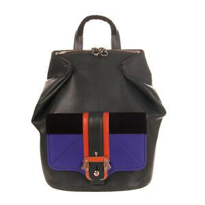 RRP €620 PAULA CADEMARTORI IVY Leather Backpack Logo Zipped HANDMADE in Italy