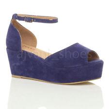 Calzado de mujer sandalias con plataforma en azul
