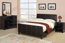 Modern 4 Pc Bedroom Set Queen Size Bed Mirror Dresser Nightstand Espresso Color