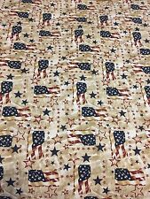 QOV Patriotic USA theme USA Flag 100% nice weight COTTON FABRIC by the yard