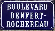 Antique French street road sign plaque enamel Boulevard Denfert Rochereau Cognac