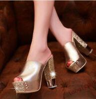 Womens Peep Toe High Chunky Heels Platform Slipper Summer Sandals Mules Shoes sz