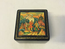Russian Mstera Lacquer Signed Box Fairy Tale Scene Seven Simeons Workers