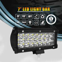 7'' 360W LED LIGHT BAR SPOT FLOOD COMBO BEAM TRI ROW SUV 4WD DRIVING OFFROAD AL
