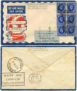 GB to KABALO BELGIAN CONGO 1936 SABENA EXPRESS SERVICE via PARIS AIRMAIL MACHINE