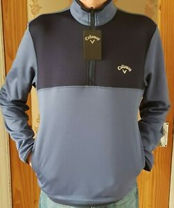 Callaway Fleece lined 1/4 zip Blue Golf Pullover Top soft shell Small FREE POST