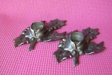 Pewter Colonial Casting Holly Leaf Candle Holders Set of 2 Christmas