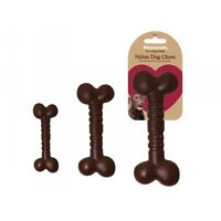 Rosewood Nylon Nylabone Style Dog Chew Bone Shape Tough Toy Chicken Chocolate Be
