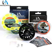 Maxcatch AVID Fly Fishing Reel Combo Fly Line Backing Leader Tppet & Ring Hooks