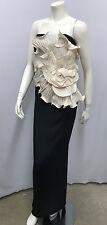 MARCHESA NOTTE STRAPLESS LONG DRESS JUMBO 3-D SILK IVORY FLOWER SILK STRETCH 12