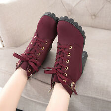 Fashion Women's Solid Thick High Heel Lace Up Ankle Boots Buckle Martin Shoes