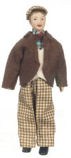 Dollhouse Miniature Doll Man Father Brown Check Suit with Hat  1:12 Scale