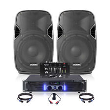 "8"" PA Speaker and Amplifier Sound System with DJ Mixer and Cables 400 Watt"