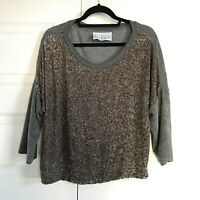 Anthropologie DOLAN Womens Dolman Sequin Gray Bronze Sweatshirt Sweater Medium
