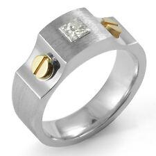 0.51 Ct Princess Cut Diamond F Si1 Men's Band Wedding Ring 14k Multi-Tone Gold