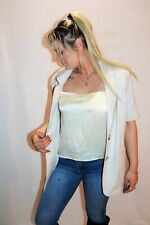 Vintage Retro 90's Katies Cream Linen Blend Short Sleeve Jacket Size 10 #Vin40