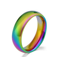 Rainbow Colorful Titanium Steel Finger Ring Men/Womens Engagement Wedding BandLD