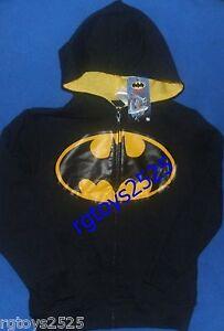 Justice League BATMAN Zip-Up Hoodie Size 14-16 XL New Child Logo sweatshirt