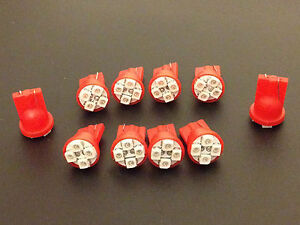 10 Red Fits Suzuki BRIGHT 12V LED 194 Wedge Instrument Panel Light Bulbs NOS