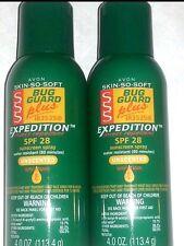 Lot of 2 Avon Skin So Soft Bug Guard Expedition SSS Aerosol Spray Green 4 oz Can