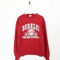 Vintage CHAMPION USA Berklee Big Logo Sweatshirt Jumper Red   Small S