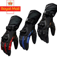 Motorbike Gloves Knuckle Protection Carbon Fiber All Weather Motorcycle Glove UK