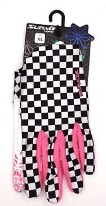SupaCaz SupaG Full Finger Cycling Gloves Pink/White/Black, Adult Size XL
