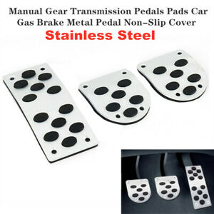 3Pcs Manual Gear Transmission Pedals Pads Car Gas Brake Pedal Cover Stainless