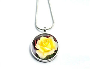 Silver Plated Yellow Rose Flower Photo Necklace