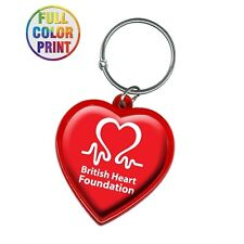 100 Custom Heart Shaped Keychains Customized with Your Full Color Logo / Message