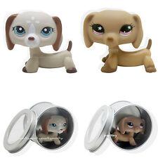 2pcs Littlest Pet Shop Dachshund Dog Puppy Tan with Pink Star Eyes #932 #1491