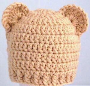 BABY BOYS GIRLS TEDDY BEAR HAT WITH EARS chunky beanie crochet photo prop tan