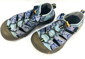 KEEN Girl Size 2 Blue Purple Floral Sandal Waterproof Shoe Kid Child Cinch Cord
