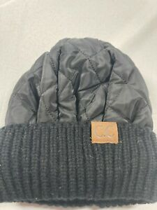 CC Exclusives Beanie Black Quilted Knit Winter Hat
