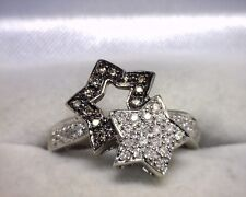 10K White Gold Brown / White Diamond Star Ring .25 TCW Size 6.25