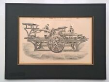 Mounted Victorian Antique Original Engraving Circa 1900 Printing Machine Plate 7